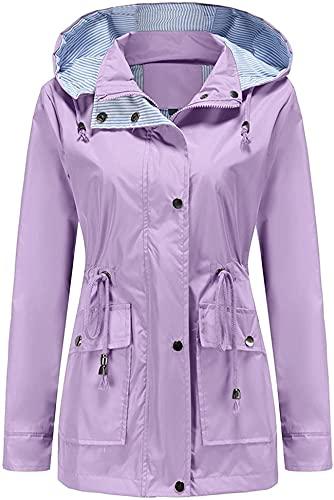 DFLYHLH Cortavientos impermeables para mujeres, chaquetas ligeras acolchadas y de talla grande para exteriores con capucha, Morado (, 3XL