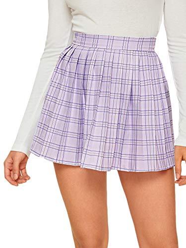 SweatyRocks Women's Casual High Waist Plaid A Line Pleated Skirt Light Purple S