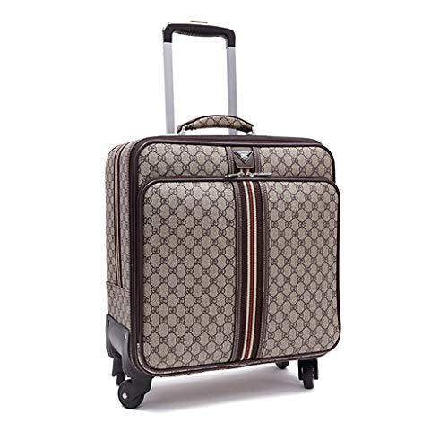 Roller Luggage Brown, Maletas cuadradas de 4 Ruedas, Maleta de embarque con Bloqueo de Equipaje y Etiquetas de Equipaje, Equipaje de Viaje de Cuero (Color : 16 Inch)