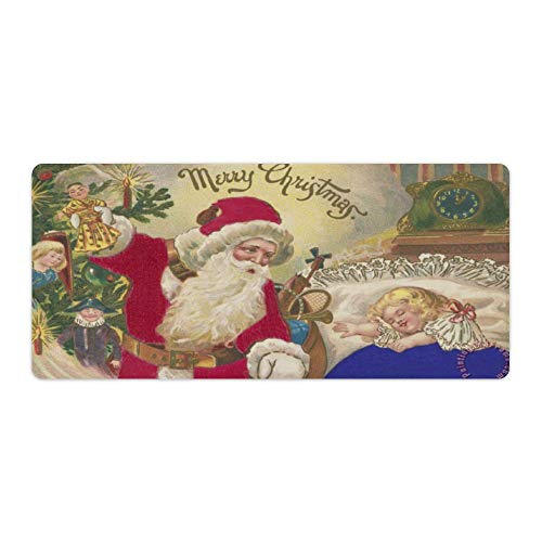 Gaming Mouse Pad Cute Litter Girl and Santa Claus Merry Christmas Art Desktop and Laptop 1 Pack 750x400x3mm/29.5x15.7x1.1 in