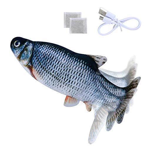Morfone Katzenspielzeug Elektrischer Fisch, 2 * Katzenminze, mit USB-Ladung Schwingender Spielzeugfisch, Waschbar,Fisch Spielzeug für Katzen Zum Beißen und Treten