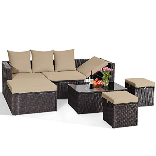 Tangkula 5-Piece Wicker Patio Conversation Furniture Set, Outdoor Rattan Sofas w/Ottomans and Coffee Table, Sectional Sofa Set with Lounge Loveseat, Cushioned Wicker Sofas Set (Brown)