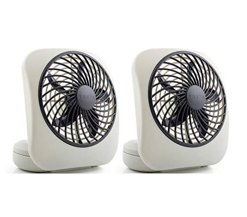 O2COOL Treva 5-Inch Portable Desktop Air Circulation Battery Fan | 2 Cooling Speeds, Compact Folding & Tilt Design, 2 Units, Grey, 2 Count