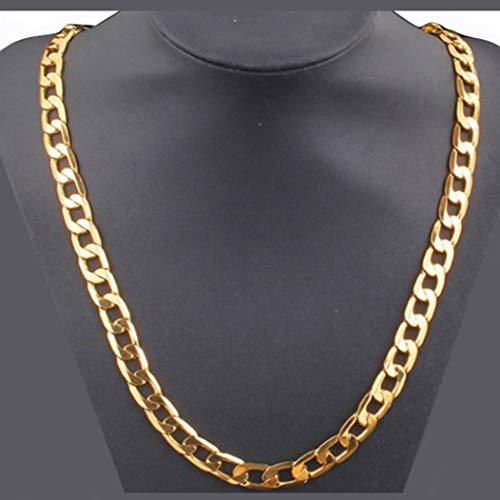 Goldkette 18k vergoldet Halskette 8mm extra breit Panzerkette aus feinem Edelstahl 50cm Länge für Herren, Damen Modeschmuck