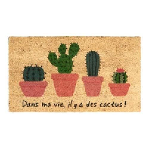 """DLP, Felpudo de coco y PVC con texto en inglés """"Le hay Cactus"""""""