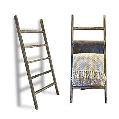 TNT DYNAMICS 5-Foot Wall-Leaning Blanket Ladder for Your Living Room- Decorative Rustic Farmhouse White Wash Wooden Quilt Rack- Towel Holder
