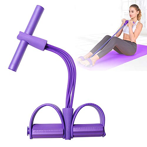 AODOOR Multifunktions-Leg-Exerciser, Sit-up Bodybuilding Expander, Multi-Function Tension Rope mit 4 Tubes Elastische Zugseil Pedal Resistance Band für Fitness Abnehmen Training - Lila