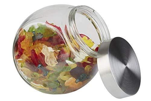 APS Vorratsglas – Bonbonglas mit Premium Glaskugel-Optik und einem Schraubdeckel aus rostfreiem Edelstahl – Aromadichte durch den hochwertigen Schraubdeckel