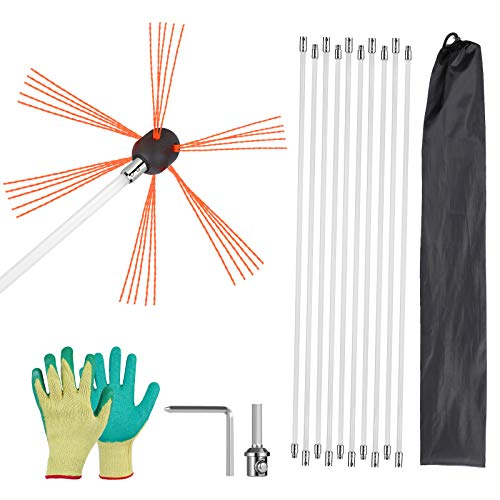 BYTROUT 33ft Chimney Sweeping Kit 12 rods Easy Connecting Chimney Brush Fireplace Flue/Chimney Cleaning Kit 10 Flexible Nylon Rods