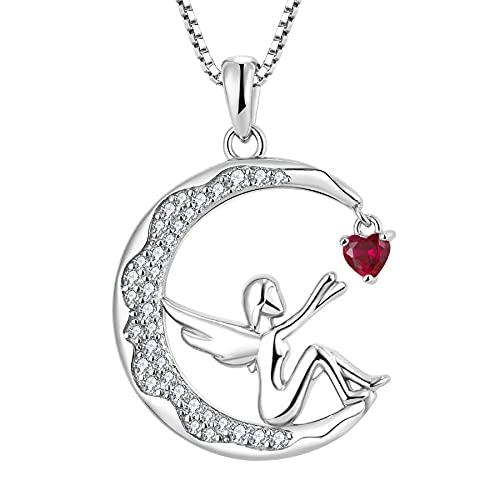 FJ Collar con colgante de ángel de la guarda de plata de ley 925, collar con colgante de luna con piedra de nacimiento de...