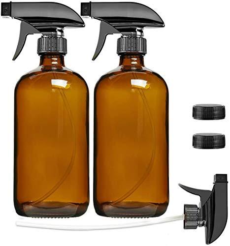 Cymax 2 x 500ml Braunglas Sprühflaschen, Braunglasflasche mit 2-Stufen Sprühkopf,Wiederverwendbare/umweltfreundliche/organische, für Pflanzen, Friseur, Ätherisches Öl