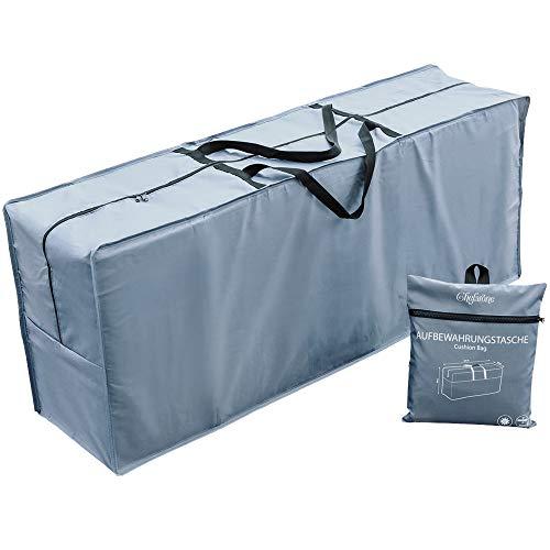 Chefarone Schutzhülle für Auflagen (125 x 50 x 32 cm) - Wasserabweisende Gartenpolster Aufbewahrung Tasche mit Tragegriff - 250D Polyester - inklusive Aufbewahrungsbeutel (Schieferblau)