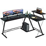 Coleshome Reversible L Shaped Desk 60.8' Home Office Desk with Round Corner Computer Desk with Large Monitor Stand, PC Table Workstation, Black