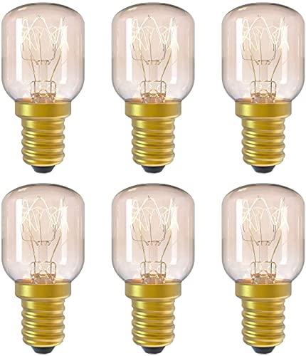 Paquete de 6 bombillas para horno E14 de 15 W, bombilla de lámpara de sal, bombilla incandescente pigmea pequeña con tapón de rosca de hasta 300 & deg;para microondas / nevera / horno / bombilla de s