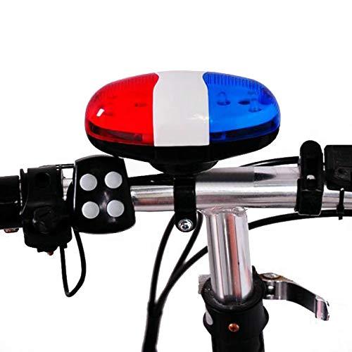 Timbre Bicicleta,Accesorio bici,bocina,timbre patinete,Accesorios para bicicletas 6 LED 4 sonidos de tonos Bicicletas Campana Luz de coche Sirena de bocina electrónica para niños Bicicleta Scooter