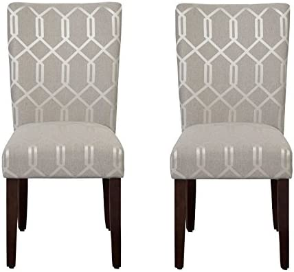 Best HomePop Parsons Classic Upholstered Accent Dining Chair, Set of 2, Pewter Grey and Lattice Cream