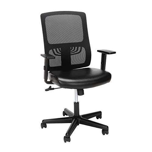 OFM ESS Collection Mesh Back with Leather Seat Office Chair, Lumbar Support, Mid, Black
