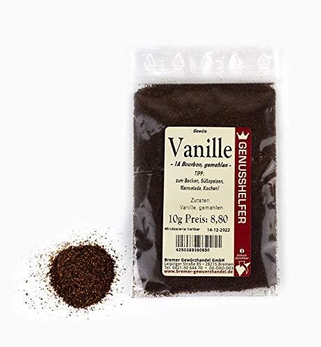 Bourbon Vanille, gemahlen 10 g - Vanillepulver zum Backen, Kochen - Bourbon Vanillestangen gemahlen - Bremer Gewürzhandel