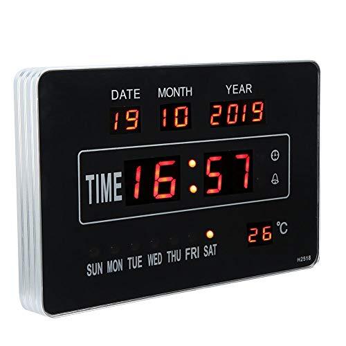 Reloj de calendario digital, reloj de calendario electrónico multifuncional, reloj de pared digital pantalla de temperatura de tiempo multifuncional decoración de oficina de dormitorio en casa
