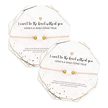 """Bridesmaid Bracelets """"I Can't Tie The Knot Without You"""" I Bridesmaid Proposal Wish Bracelets I Rose Gold Plated  6 pack"""