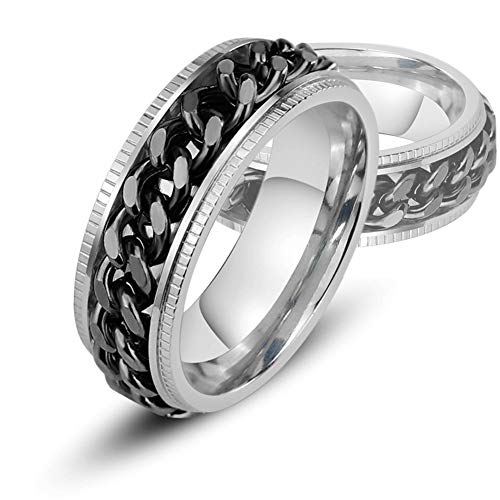 Fandao 8MM Unisex Rostfreiem Stahl Kubanischer Kette Rotation Ring, Mittlerer Feinabstimmungs Ring, Reduziertem Druck Zubehör, Bier Öffner (Größe: 7-12),Silverblack,9