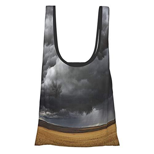 Colección Thunderstorm nubes oscuras sobre campos después de cosechar Montana Los EE.UU. gris amarillo reutilizable bolsas de comestibles, bolsa de compras ecológica