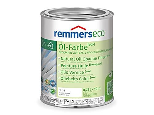 Remmers Öl-Farbe [eco] weiß (RAL 9016), 0,75 Liter, wasserbasierte Öko Farbe für Holz innen und außen, 3 Öko Farben in einem, Isoliergrund, Zwischen- und Schlussbeschichtung, umweltfreundlich