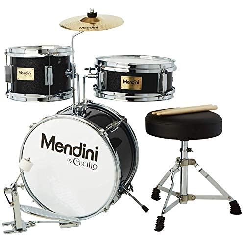 Mendini by Cecilio 13 inch 3-Piece Kids/Junior Drum Set with Throne, Cymbal, Pedal & Drumsticks (Black Metallic)