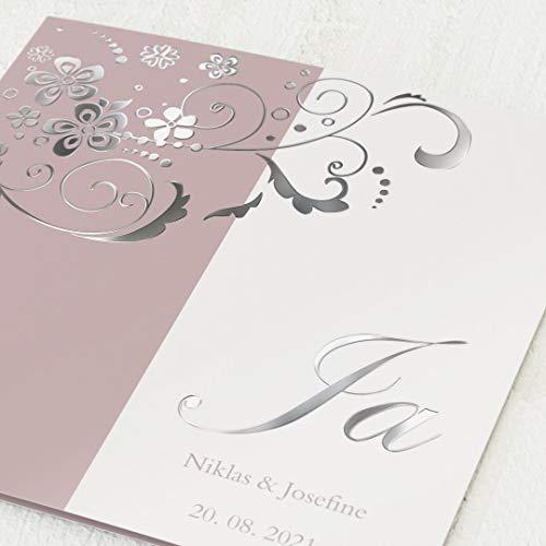 sendmoments Einladungskarten Hochzeit, Blütentraum, 5er Klappkarten-Set quadratisch, personalisiert mit Text & Fotos, mit Silber Veredelung, optional passende Design-Umschläge