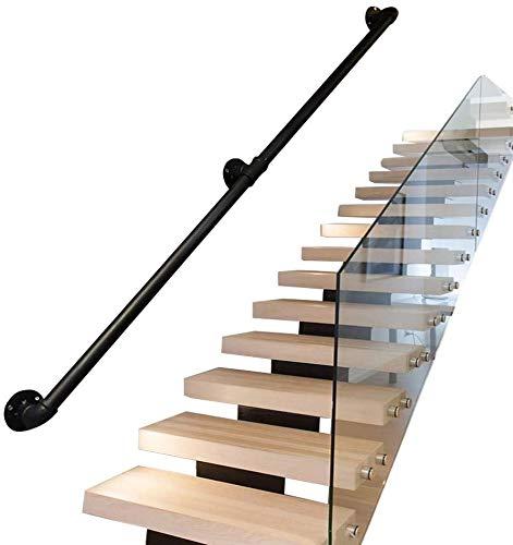 pasamanos Interiores y Exteriores multifunci/ón 30-600cm Pasamanos industriales de Escalera de Tubo de Hierro Forjado Negro pasamanos Antideslizantes de Seguridad para ni/ños Mayores