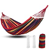 Outdoor Camping Hammock 2 Person Cotton Fabric Canvas Travel Hammocks 600lbs 8.5 feet Ultralight Portable Beach Swing Bed with Hardwood Spreader Bar Suspended Tree Hammock (Colorful stripes)