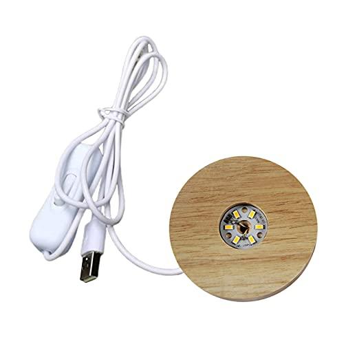 perfk Lámpara de LED con Base de Madera Redonda con Puerto USB E Interruptor, Base de Exhibición de Acrílico LED de Luz Nocturna Moderna de 70 Mm - Warm Light