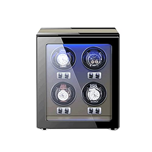 Cajas Giratorias para Relojes Caja Almacenamiento Lujo De Madera Motor Silencioso con Luz LED para La Exhibición Relojes para Hombres Y Fácil Acceso