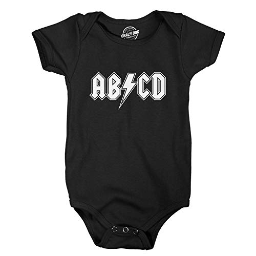 Crazy Dog Tshirts - Baby ABCD Creeper Funny Metal Band Rock Logo Romper for Infants and Toddlers (Black) - 6 Months - Baby-Enfant