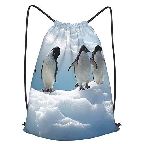 GYYbling Bolsas con cordón Adelie Penguins Mochila con cordón, Mochila de Viaje Escolar con Boca de viga Mochila Ligera Bolsos de Hombro para Hombres y Mujeres