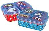 Pack de 2 Sandwicheras con compartimentos de Sonic y Super Mario– Fiambrera infantil para niños niño niña cole colegio (Pack 2: Sonic + Super Mario)