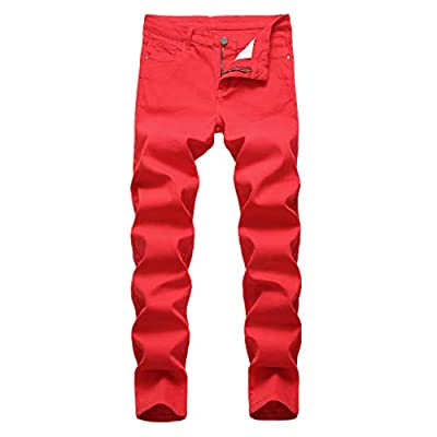 Karinao trousers men red casual autumn denim cotton straight hole long jeans teen boys party clothing Slim 30 red