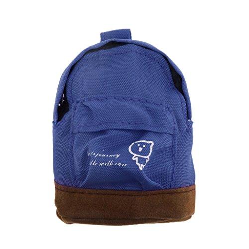 Blesiya Mini Puppen Rucksack Schultasche Tasche für 1/ 6 Puppenhaus Zubehör, Kinder Spielzeug - Dunkelblau
