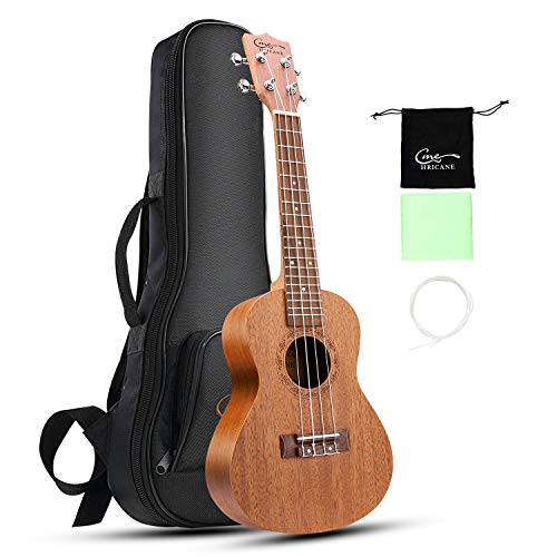Hricane Ukulele Tenor Mahogany Ukulele with Strings, Guitar Pack and Bag