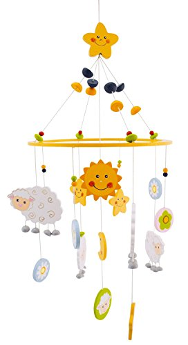 BIECO 3D Baby Mobile Schaf Betty aus robustem Holz | Mobile Baby Holz | Geeignet als Mobile Wickeltisch, Kinderbett, Wiege Baby etc. | ca. 23x 23x 60 cm | Mobile Baby Mädchen/ Mobile Baby Junge