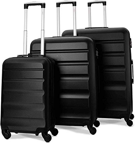 3 sets de maleta de cuatro ruedas rígidas con encendedor con bloqueo TSA integrado,Set de 3