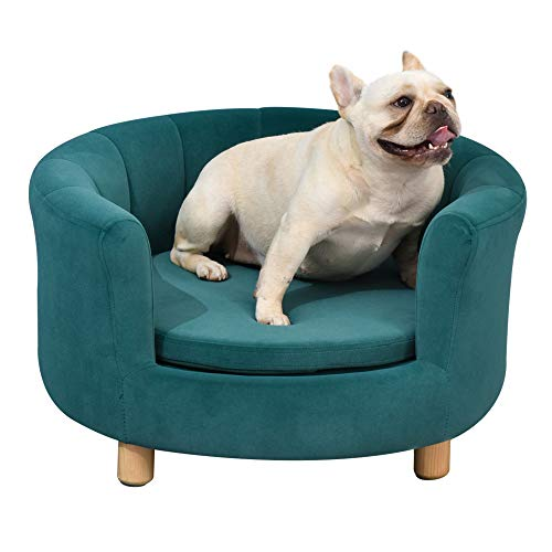 PawHut Modern Nest Shape Pet Sofa for Cat or Small-sized Dog with Loop Wrapped Backrest and Soft Cushion, Green