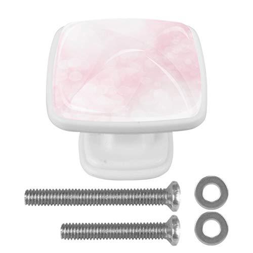 Confezione da 4 pomelli piatti per cucina, camera da letto, armadietto, maniglia quadrata per cassettiera, cassetto ferramenta rosa astratto