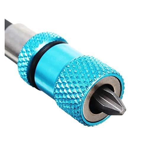 FHYTGBS Pequeño Destornillador Ajustable Profundidad de Tornillo Ajustable Destornillador magnético Soporte de bits de 1/4 Pulgada Hex Conductor con pH2 SCEWDRIVER bit (Color : Blue)
