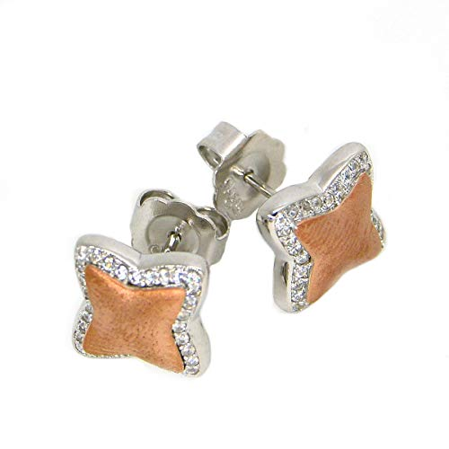 Clogau Gold Welsh Womens 925 Sterling Silver and Rose Gold Cubic Zircon Seren Star Post and Butterfly Stud Earrings