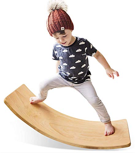 HAN-MM Wooden Wobble Balance Board Waldorf Toys Balance Board Kid Yoga Board Curvy Board - Wooden Rocker Board 35 Inch Kid Size (Natural)
