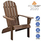 PolyTEAK Traditional Element Faux Wood Poly Adirondack Chair, Brown | Adult-Size, Weather Resistant, Made from Special Formulated Poly Lumber Plastic…