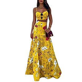 Boutiquefeel 2Pcs Women Top & Maxi Skirt Sets Floral Print Square Neck Spaghetti Strap Sleeveless Tops Sexy Ladies Two-Piece Dress