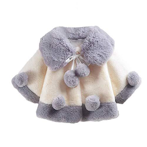 Baby Mädchen Langärmeliger Plüsch Winter Wesentlich Herbst Mantel Jacke Starke Warme Kleidung Fashion Casual Kids Kleidung (Color : Grau, Einheitsgröße : 100)