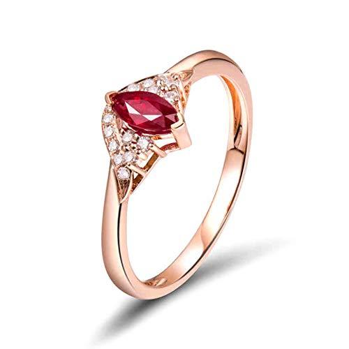 AnazoZ Anillos Mujer Rubi,Anillo de Oro Rosa 18 Kilates Oro Rosa y Rojo Marquesa Rubí Rojo 0.35ct Diamante 0.09ct Talla 12